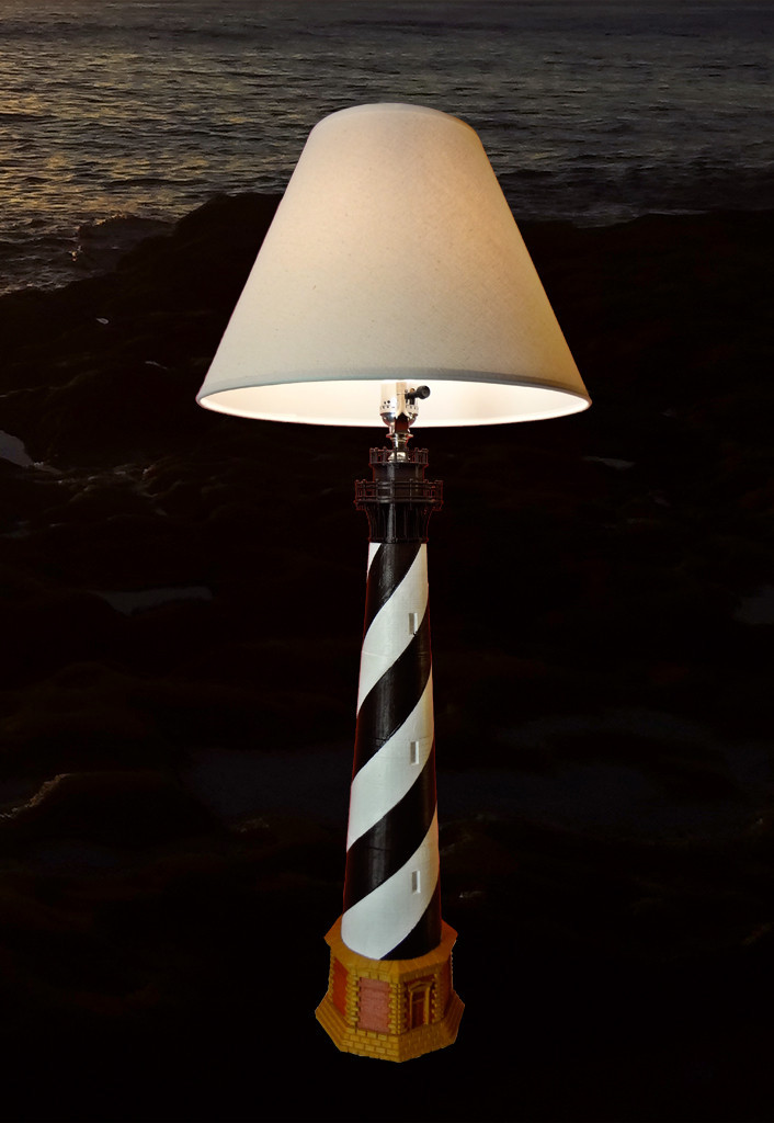 This Variation Of The Cape Hatteras Lighthouse Model Incorporates A Standard Brushed Nickel Lamp Socket And Harp For Use In Three Way Lighting